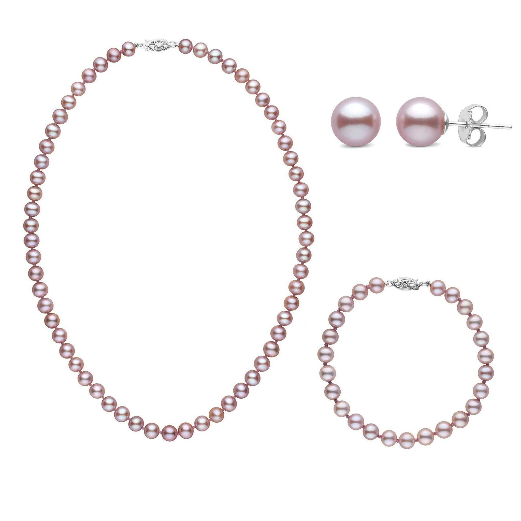16 Inch 3 Piece Set of 6.5-7.0 mm AAA Lavender Freshwater Pearls