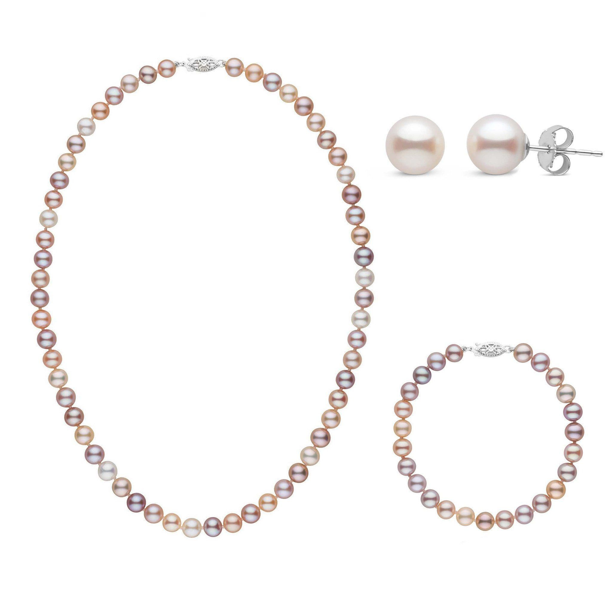 16 Inch 3 Piece Set of 6.5-7.0 mm AAA Multicolor Freshwater Pearls