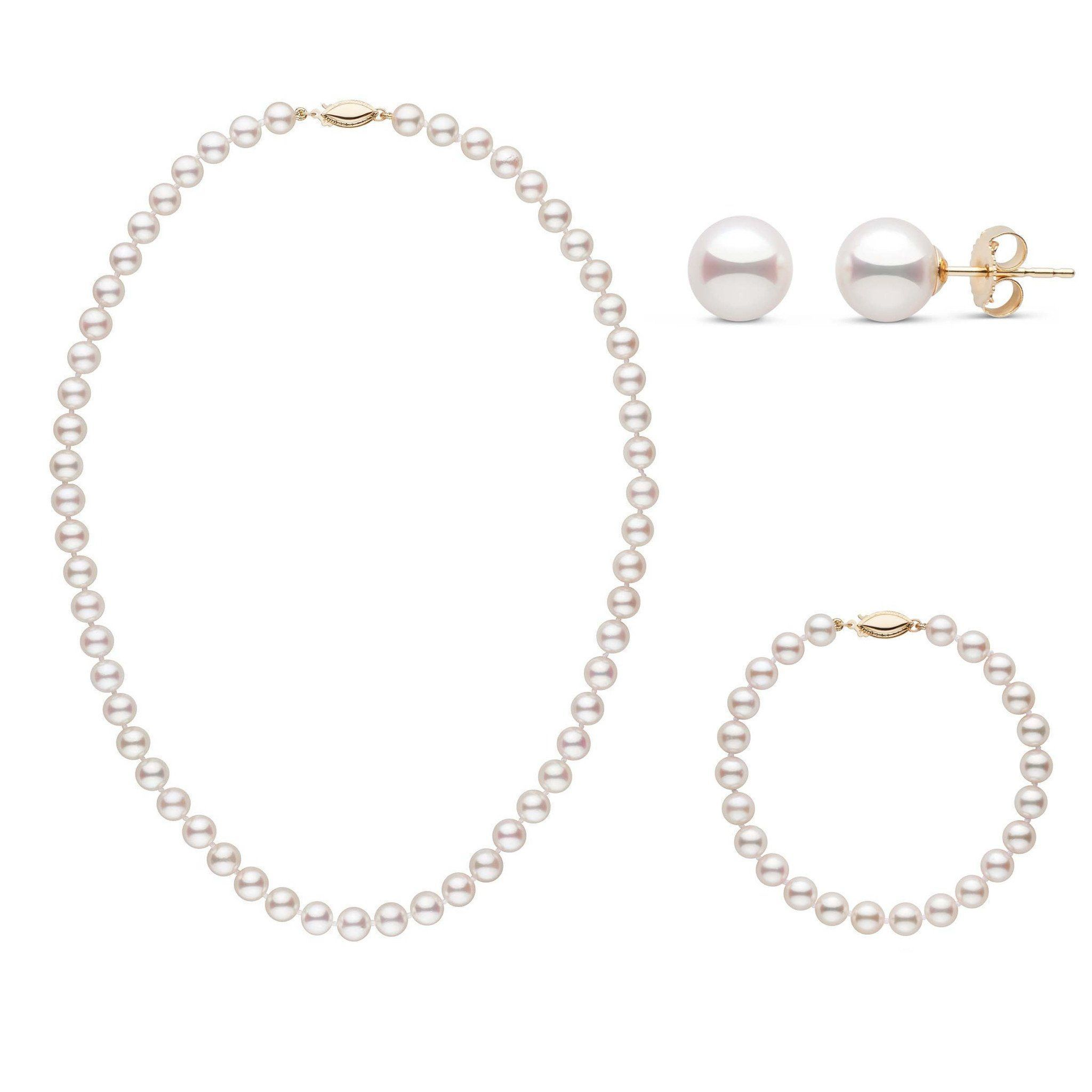 16 Inch 3 Piece Set of 6.5-7.0 mm AAA White Akoya Pearls