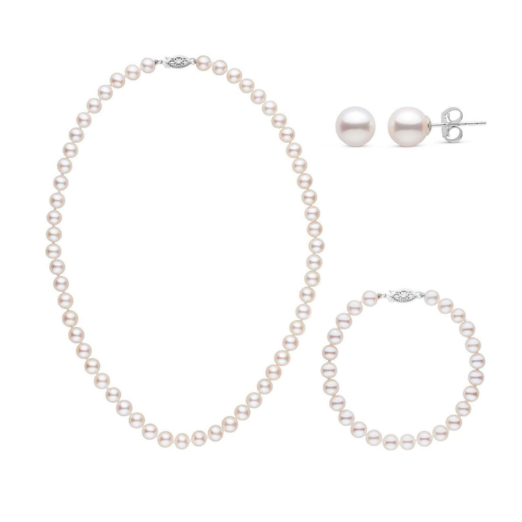 16 Inch 3 Piece Set of 6.5-7.0 mm AAA White Freshwater Pearls