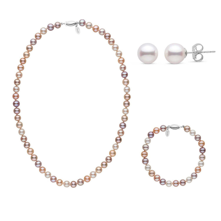 16 Inch 3 Piece Set of 6.5-7.0 mm Freshadama Multicolor Freshwater Pearl