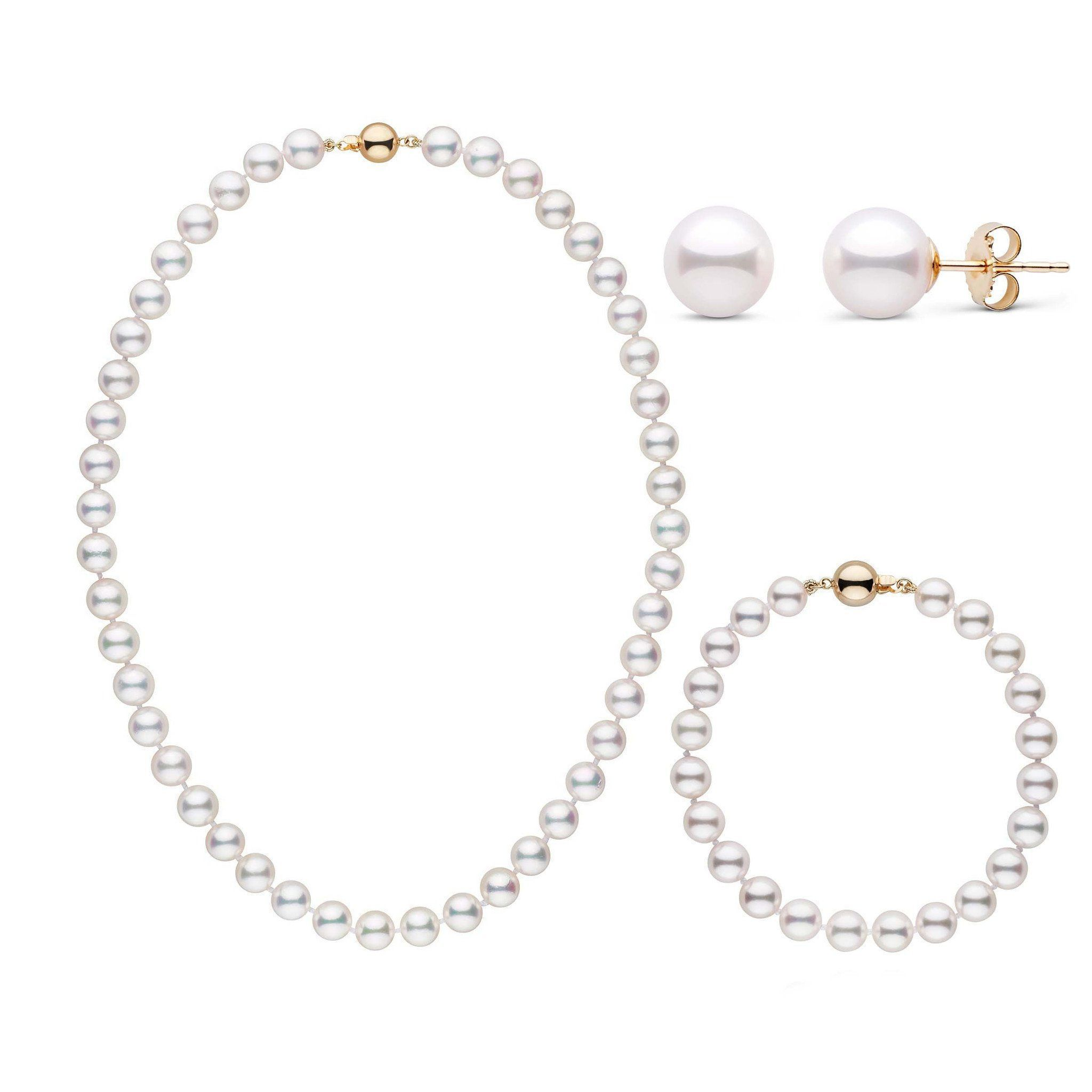16 Inch 3 Piece Set of 7.0-7.5 mm AAA White Akoya Pearls