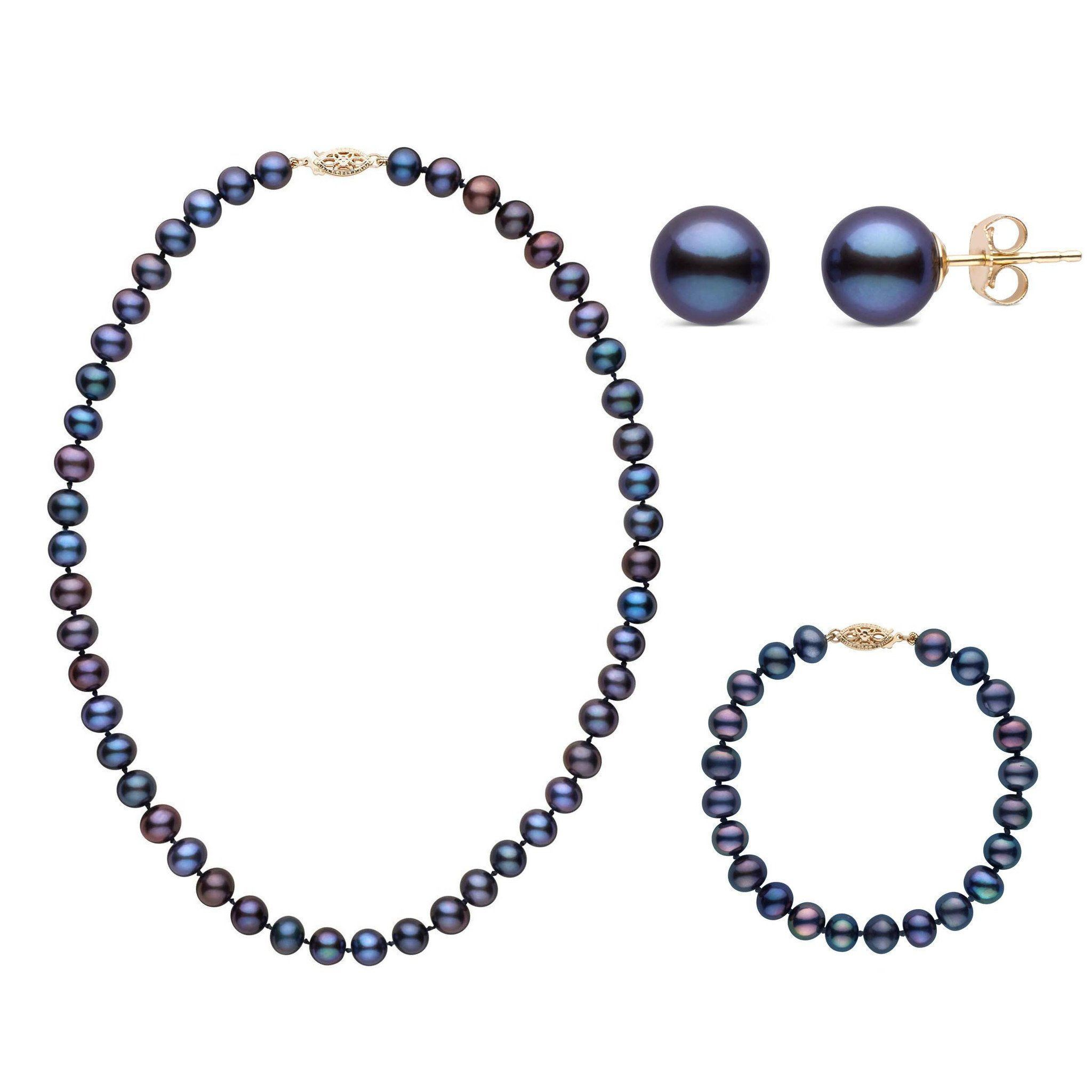 16 Inch 3 Piece Set of 7.5-8.0 mm AA+ Black Freshwater Pearls