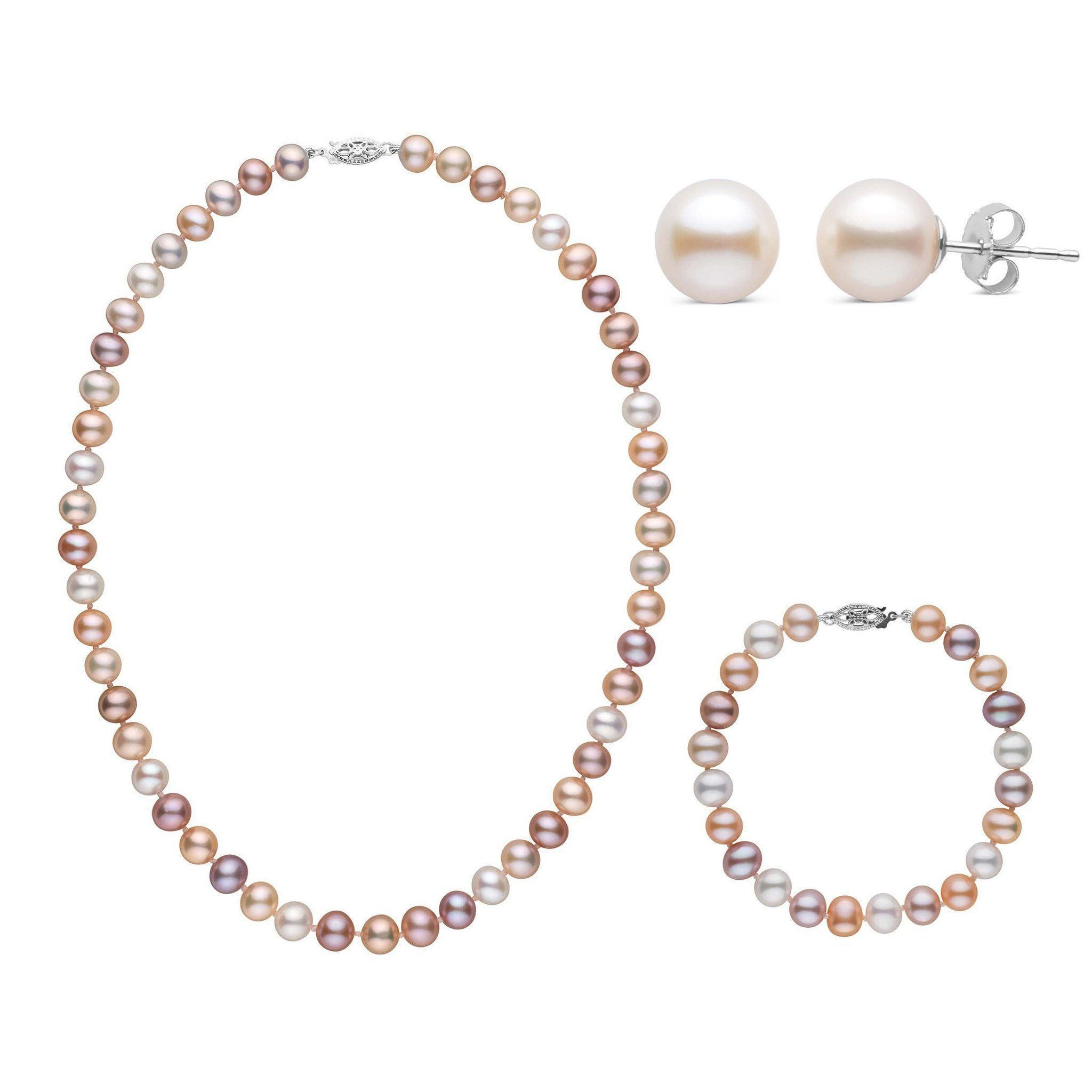 16 Inch 3 Piece Set of 7.5-8.0 mm AA+ Multicolor Freshwater Pearls