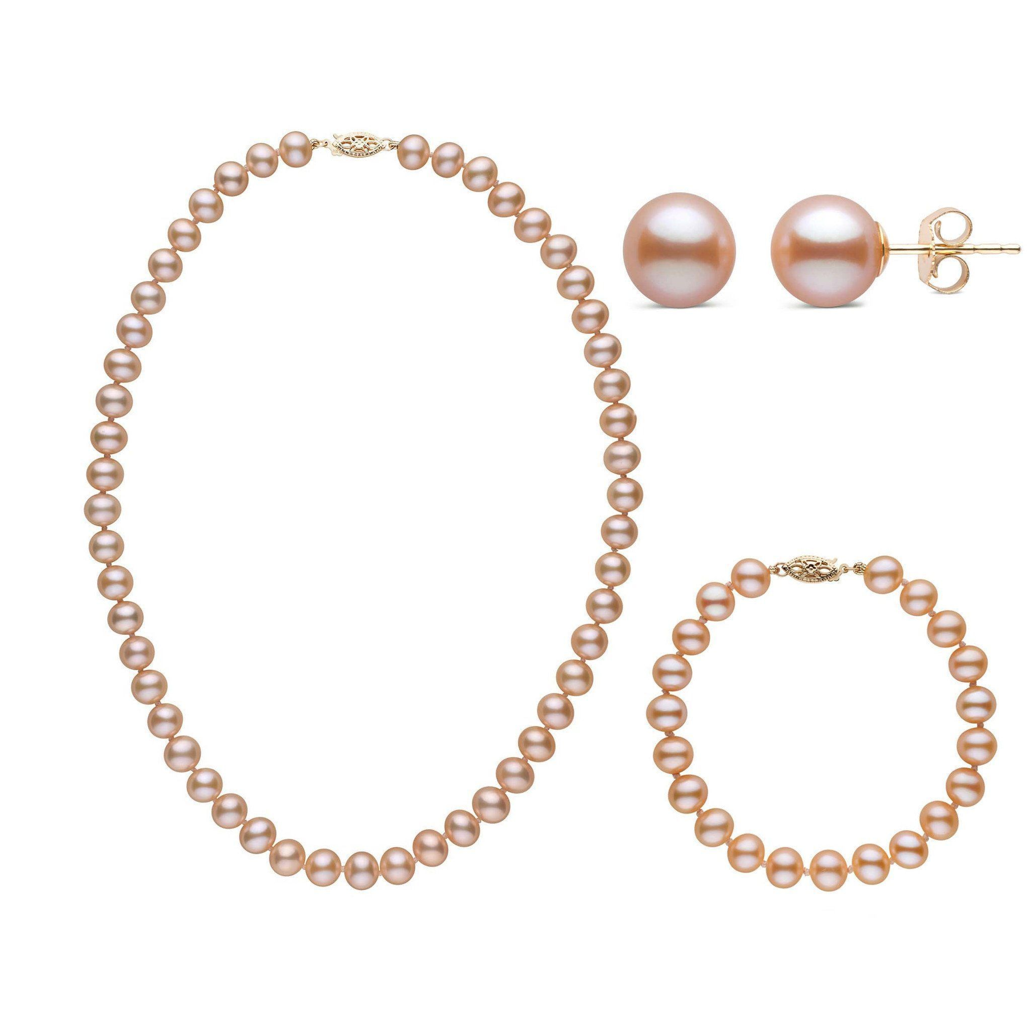 16 Inch 3 Piece Set of 7.5-8.0 mm AA+ Pink Freshwater Pearls