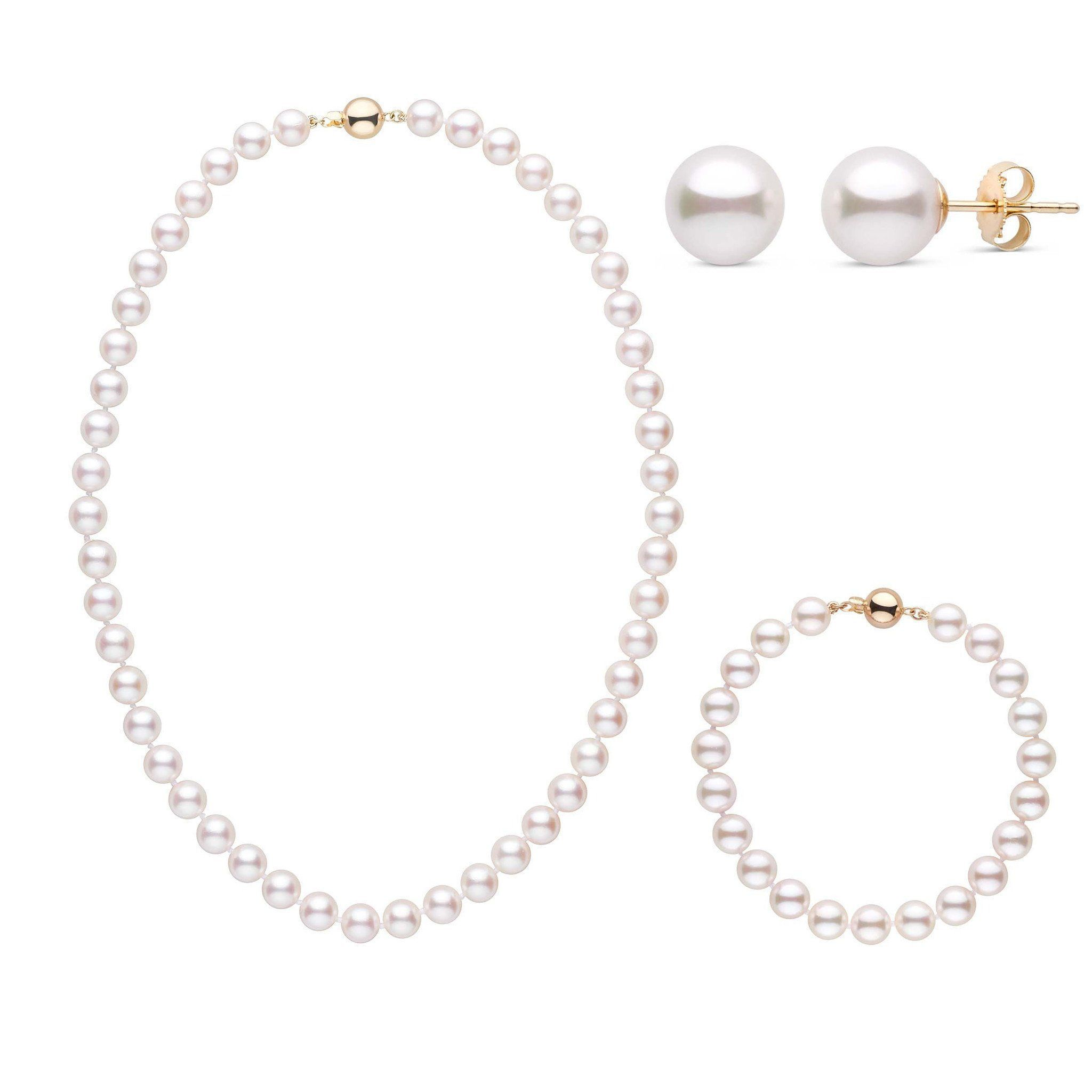 16 Inch 3 Piece Set of 7.5-8.0 mm AA+ White Akoya Pearls