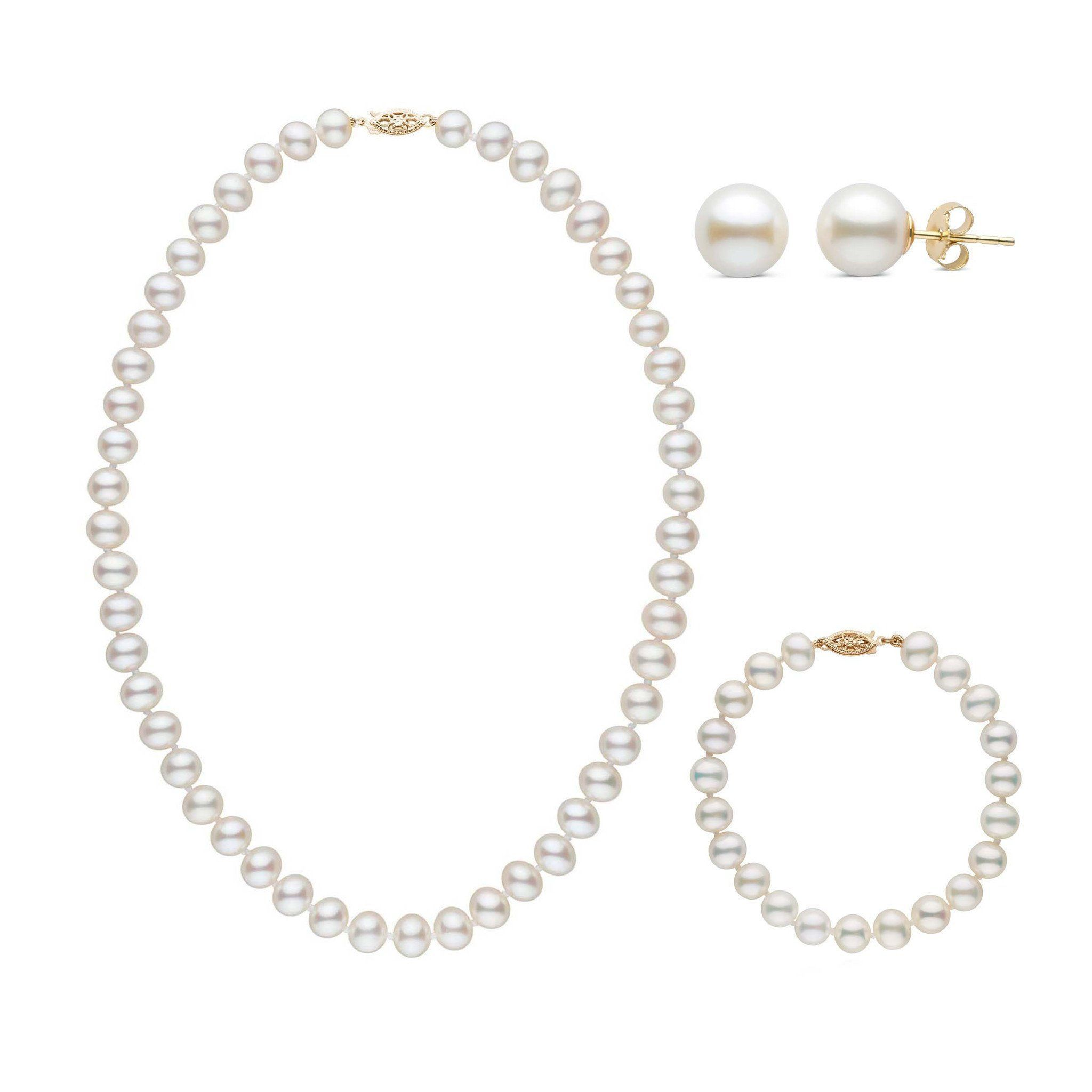 16 Inch 3 Piece Set of 7.5-8.0 mm AA+ White Freshwater Pearls