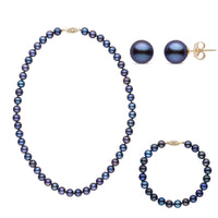 16 Inch 3 Piece Set of 7.5-8.0 mm AAA Black Freshwater Pearls