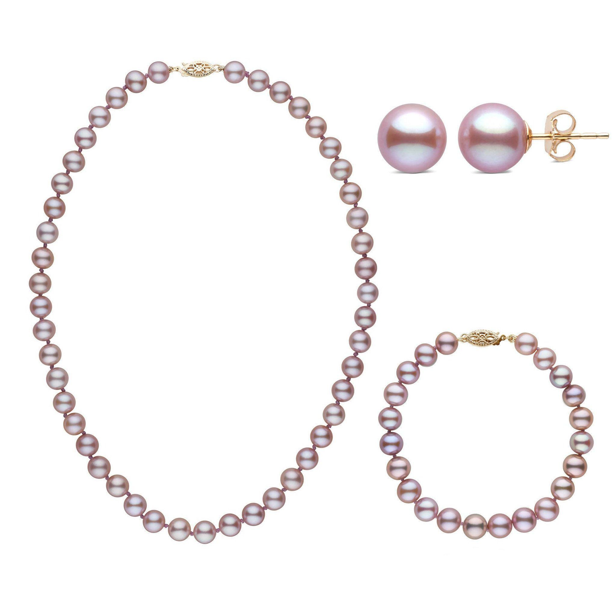 16 Inch 3 Piece Set of 7.5-8.0 mm AAA Lavender Freshwater Pearls