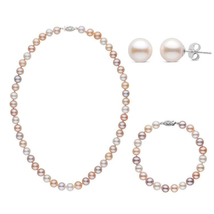 16 Inch 3 Piece Set of 7.5-8.0 mm AAA Multicolor Freshwater Pearls