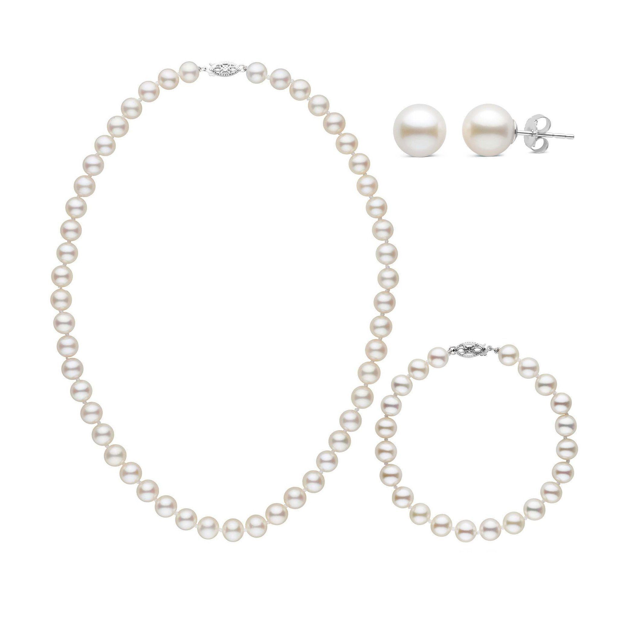 16 Inch 3 Piece Set of 7.5-8.0 mm AAA White Freshwater Pearls