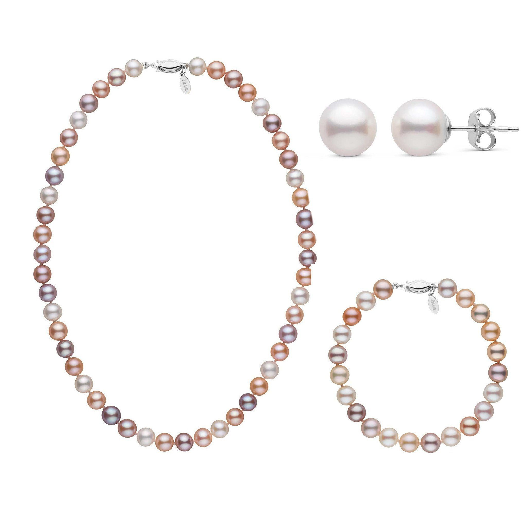 16 Inch 3 Piece Set of 7.5-8.0 mm Freshadama Multicolor Freshwater Pearl