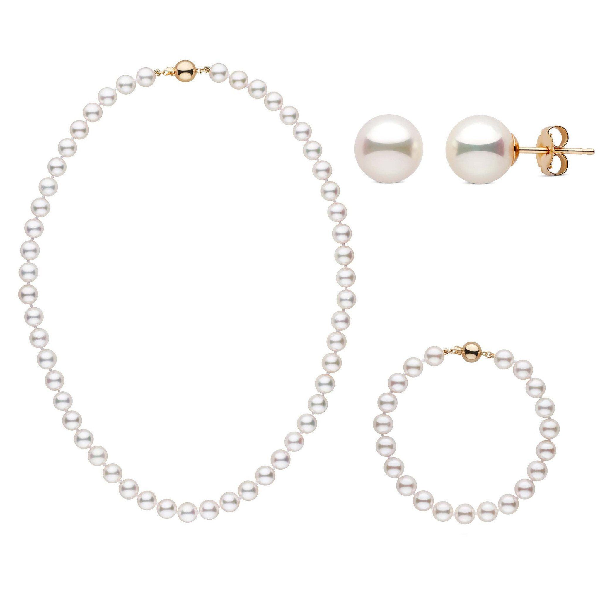 16 Inch 3 Piece Set of 7.5-8.0 mm AAA White Akoya Pearls