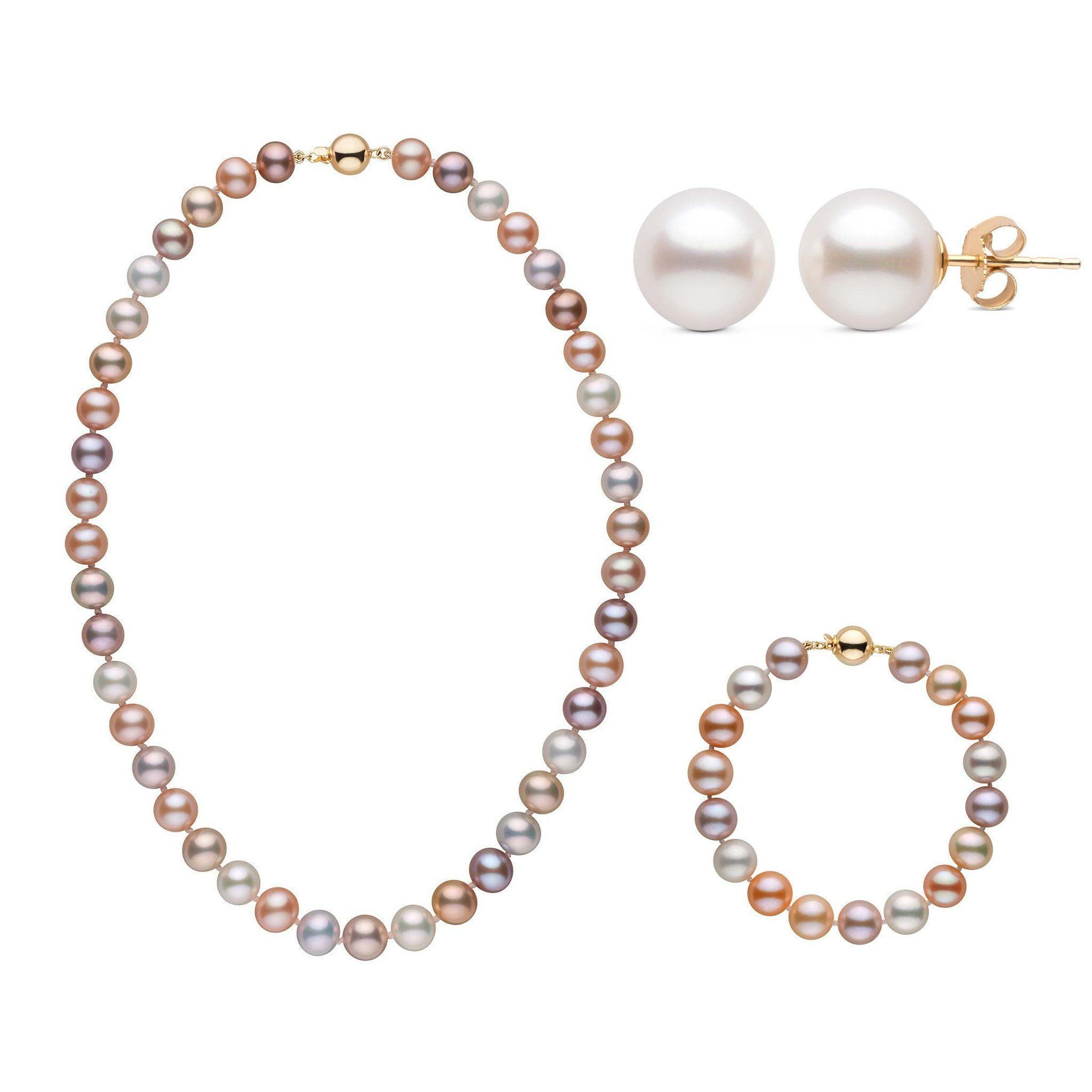 16 Inch 3 Piece Set of 8.5-9.0 mm AAA Multicolor Freshwater Pearls