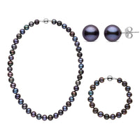 16 Inch 3 Piece Set of 8.5-9.0 mm Black Freshwater Pearls
