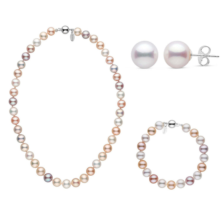 16 Inch 3 Piece Set of 8.5-9.0 mm Freshadama Multicolor Freshwater Pearl