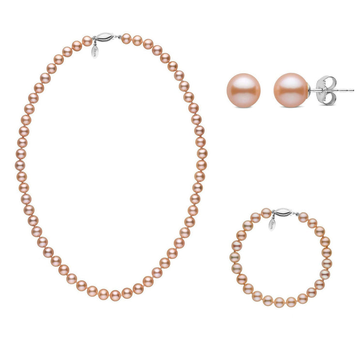 16 Inch 6.5-7.0 mm Pink to Peach Freshadama Freshwater Pearl Set