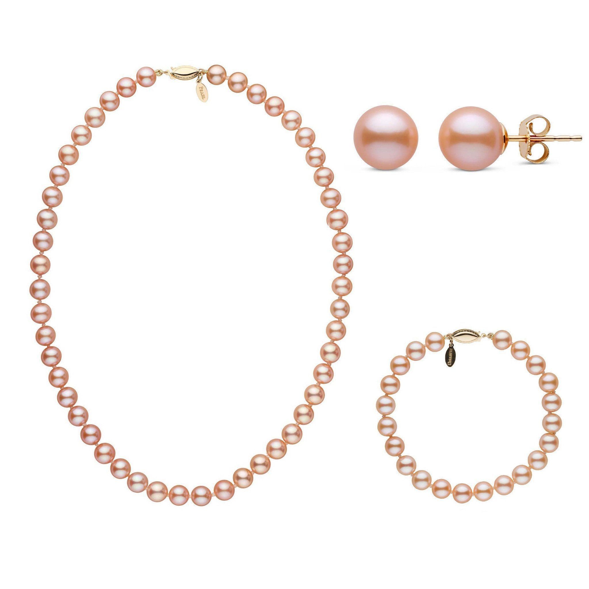 16 Inch 7.5-8.0 mm Pink to Peach Freshadama Freshwater Pearl Set