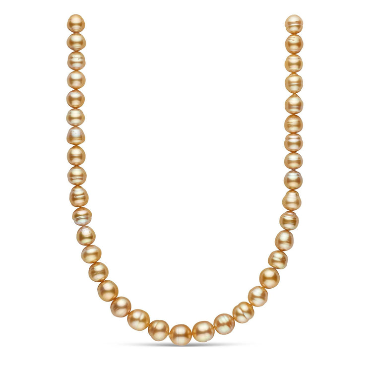 18-inch 10.0-11.7 mm AA+ Baroque Golden South Sea Pearl Necklace