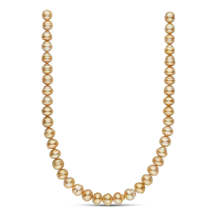 18-inch 10.0-11.7 mm AA+/AAA Baroque Golden South Sea Pearl Necklace