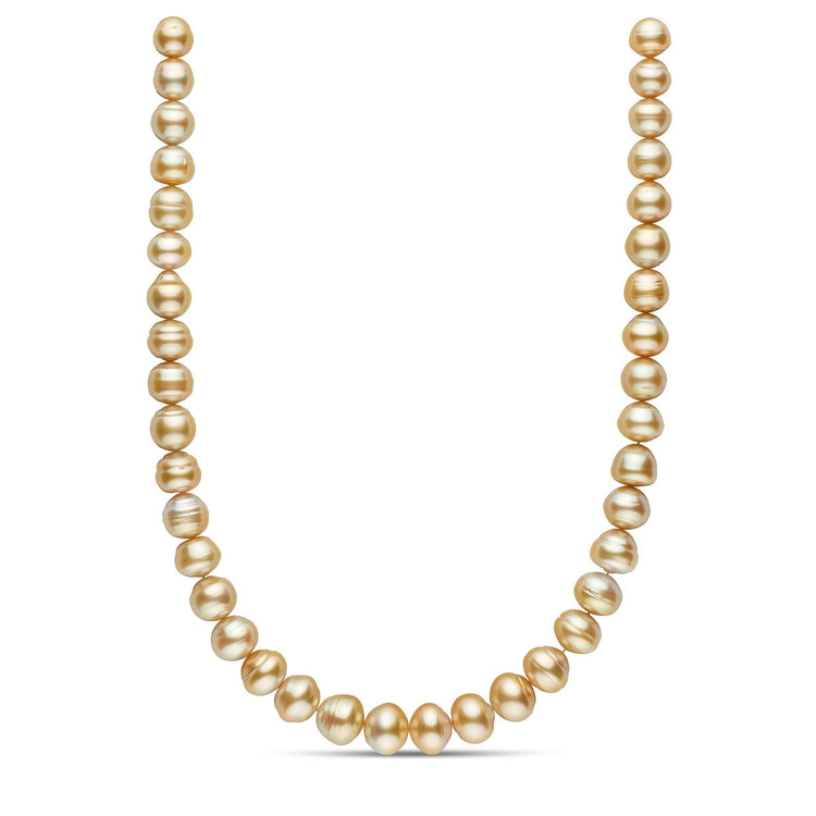 18-inch 10.0-12.9 mm AA+/AAA Button Baroque Golden South Sea Pearl Necklace