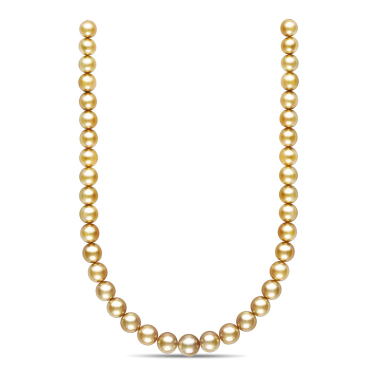 18-inch 10.0-12.9 mm AA+/AAA Semi-Round Golden South Sea Pearl Necklace