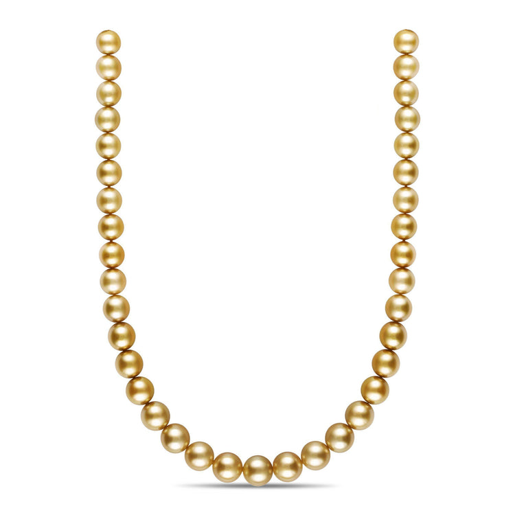 18-inch 10.1-12.5 mm AA+/AAA Round Golden South Sea Pearl Necklace