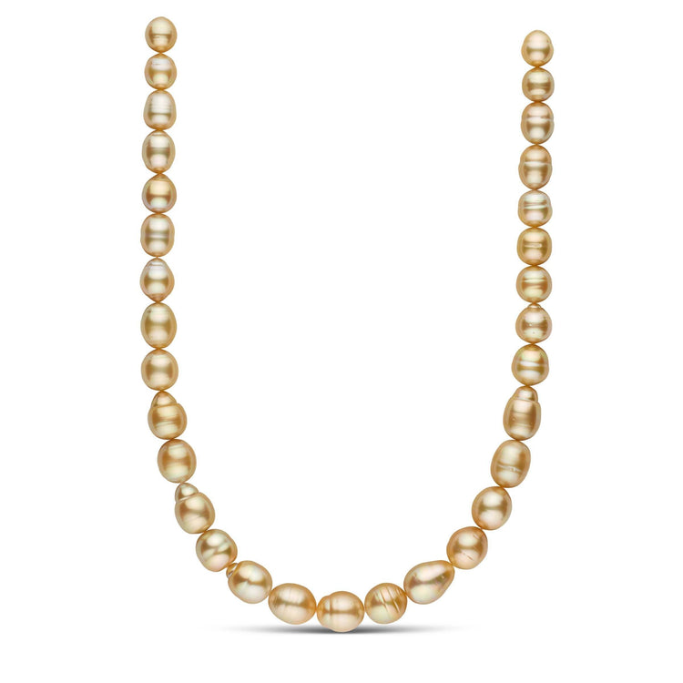 18 inch 10.1-12.7 mm AA+/AAA Golden South Sea Baroque Pearl Necklace
