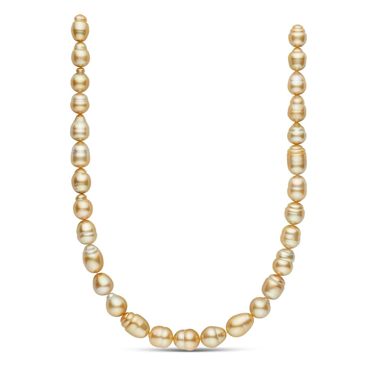 18-inch 10.2-11.9 mm AA+ Baroque Golden South Sea Pearl Necklace