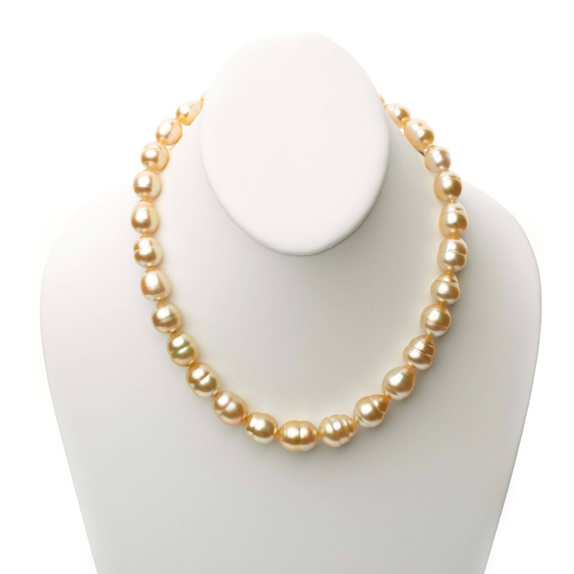 18-inch 10.2-13.0 mm AA+/AAA Golden South Sea Baroque Pearl Necklace
