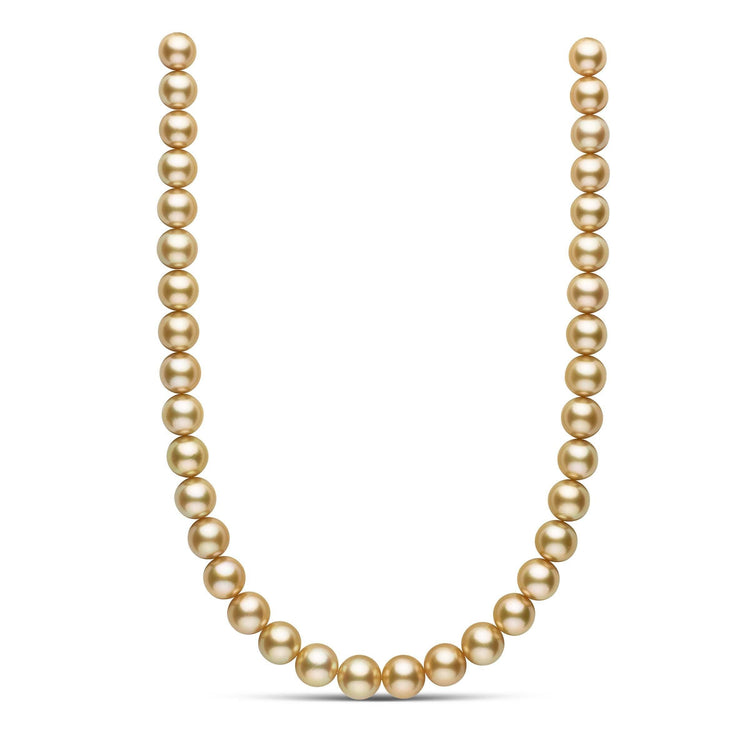 18 inch 11.0-12.8 mm AAA Round 24K Golden South Sea Pearl Necklace