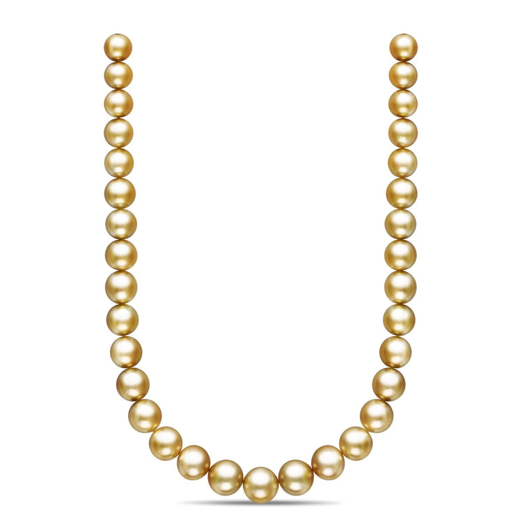18-inch 11.6-14.7 mm AA+/AAA Semi-Round Golden South Sea Pearl Necklace
