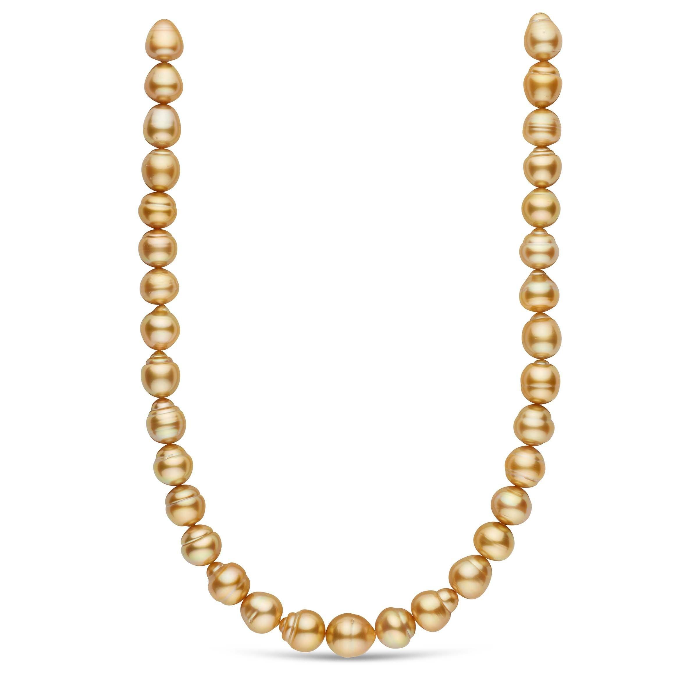 18-inch 12.0-13.8 mm AAA Baroque Golden South Sea Pearl Necklace
