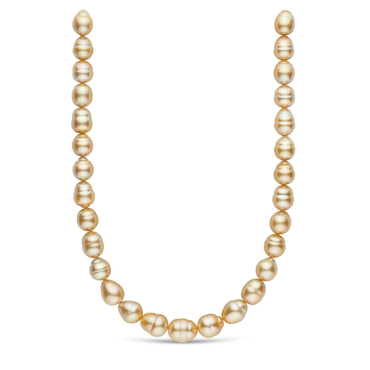 18-inch 12.0-14.0 mm AAA Baroque Golden South Sea Pearl Necklace