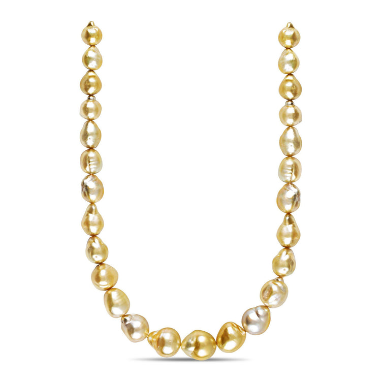 18-inch 12.0-17.1 mm AA+/AAA Baroque Golden South Sea Pearl Necklace