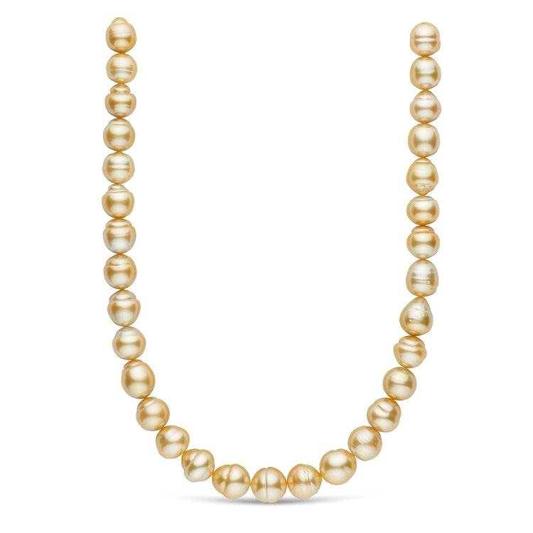 18-inch 12.1-13.8 mm AA+/AAA Baroque Golden South Sea Pearl Necklace