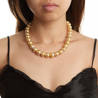 18-inch 12.1-13.9 mm AA+/AAA Baroque Golden South Sea Pearl Necklace