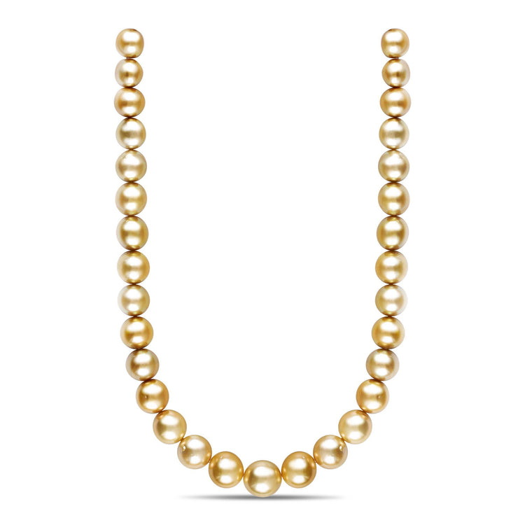 18-inch 12.1-15.5 mm AA+/AAA Baroque Golden South Sea Pearl Necklace