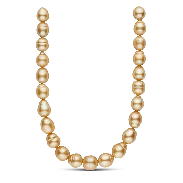 18 inch 15.0-17.4 mm AAA Golden South Sea Drop Pearl Necklace