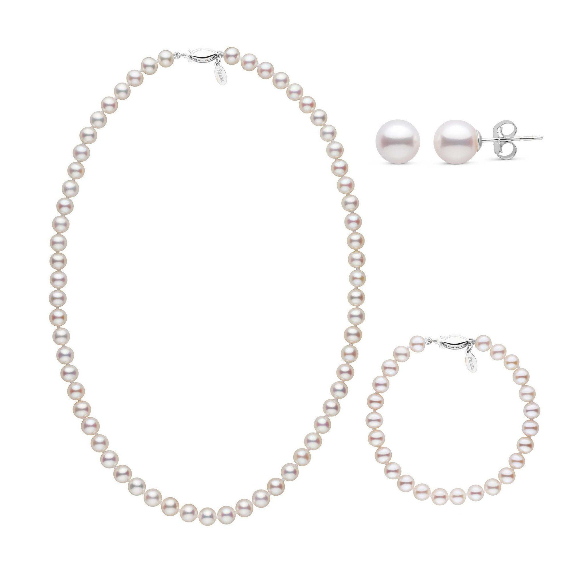 18 Inch 3 Piece 6.5-7.0 mm White Freshadama Freshwater Pearl Set