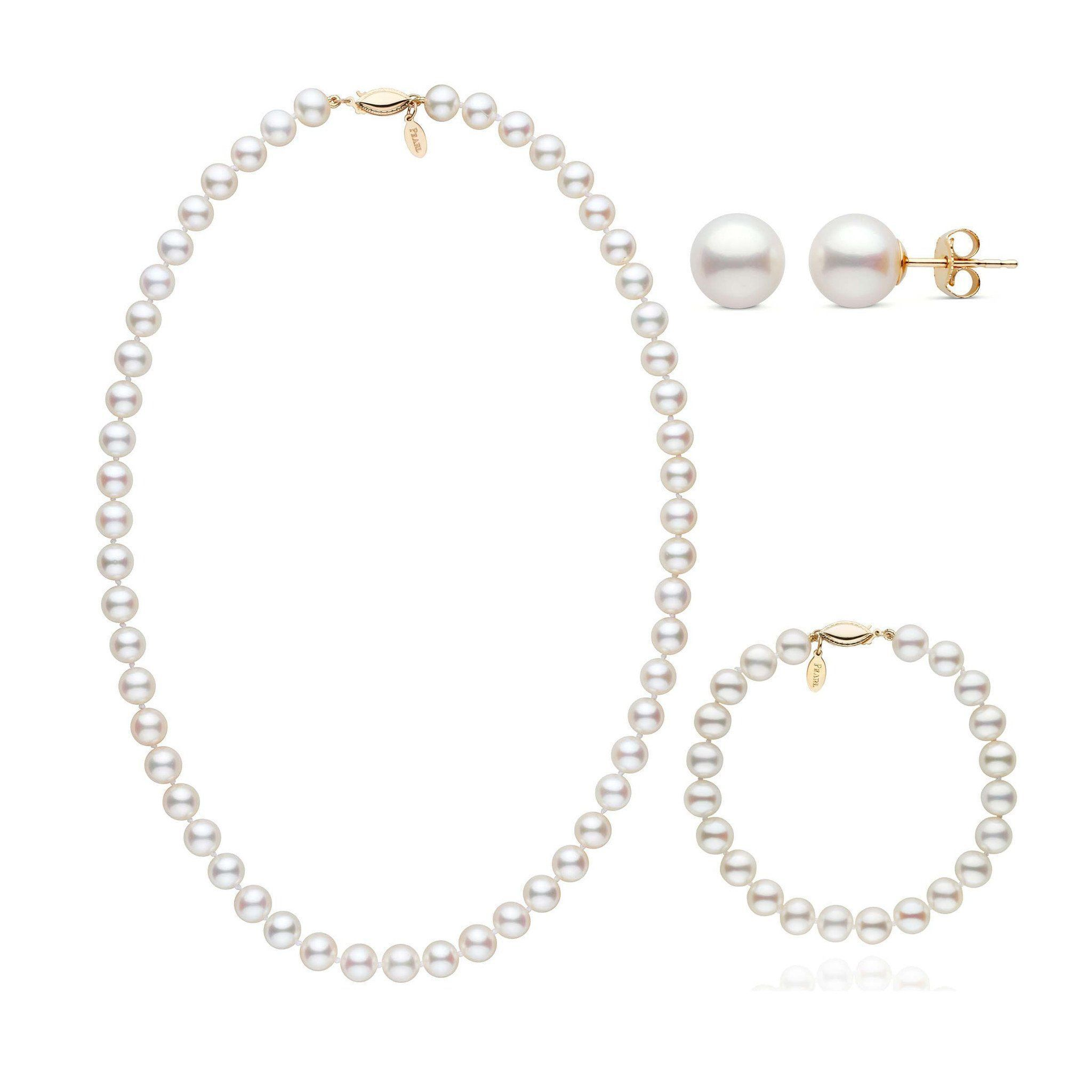 18 Inch 3 Piece 7.5-8.0 mm White Freshadama Freshwater Pearl Set