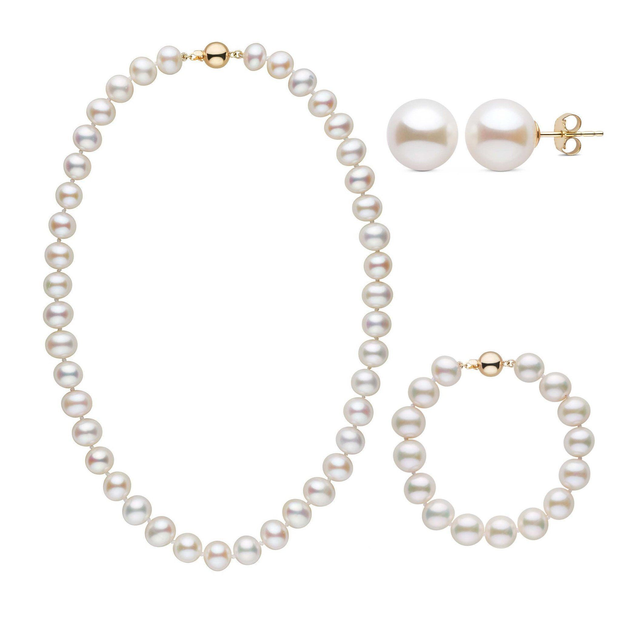 18 Inch 3 Piece 9.5-10.5 mm AA+ White Freshwater Pearl Set
