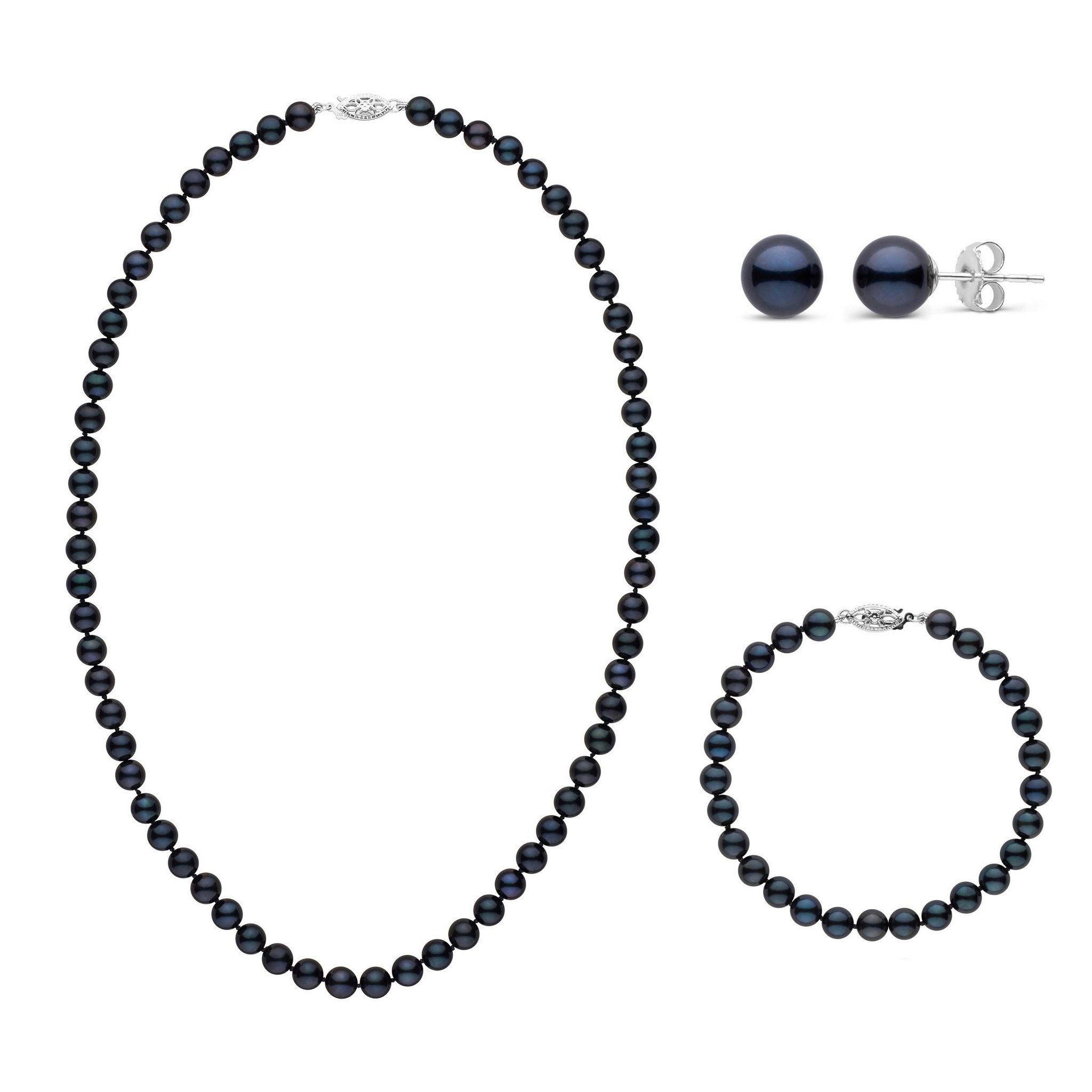 18 Inch 3 Piece Set of 6.0-6.5 mm AA+ Black Akoya Pearls