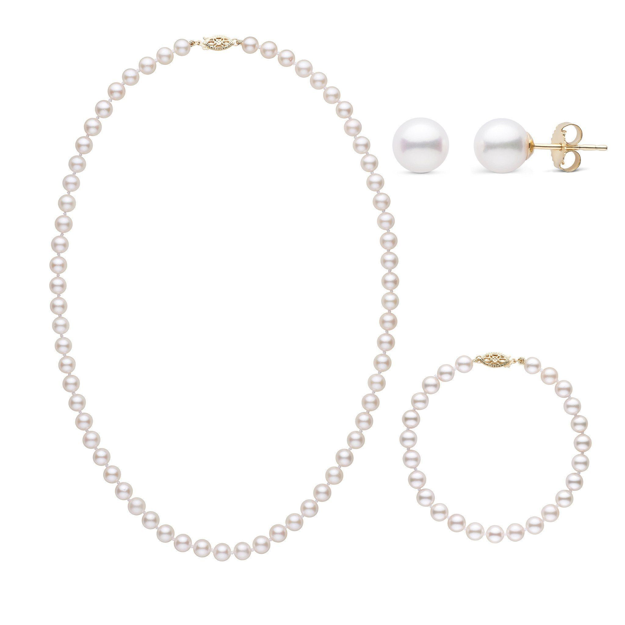 18 Inch 3 Piece Set of 6.0-6.5 mm AA+ White Akoya Pearls