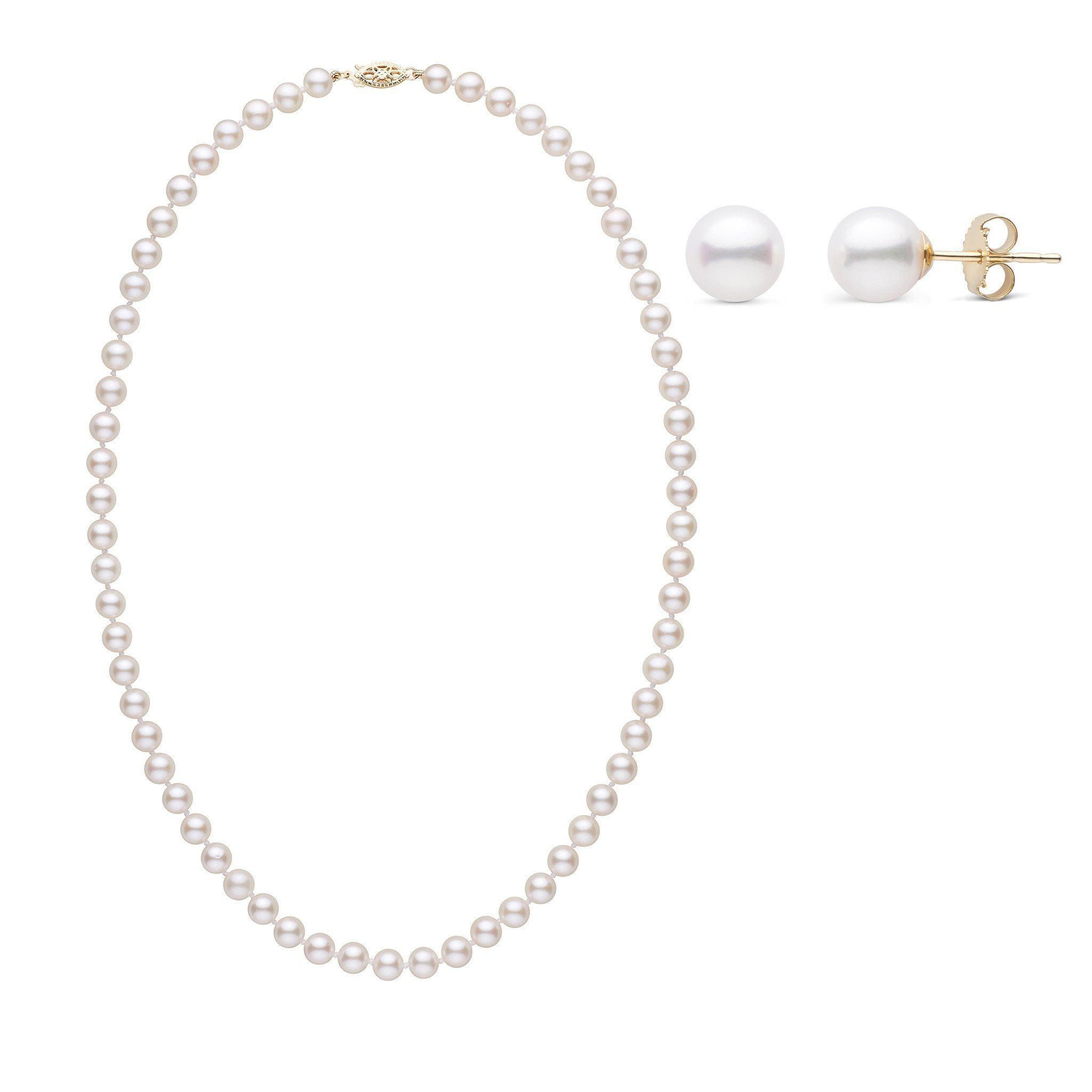 18 Inch 2 Piece Set of 6.0-6.5 mm AA+ White Akoya Pearls