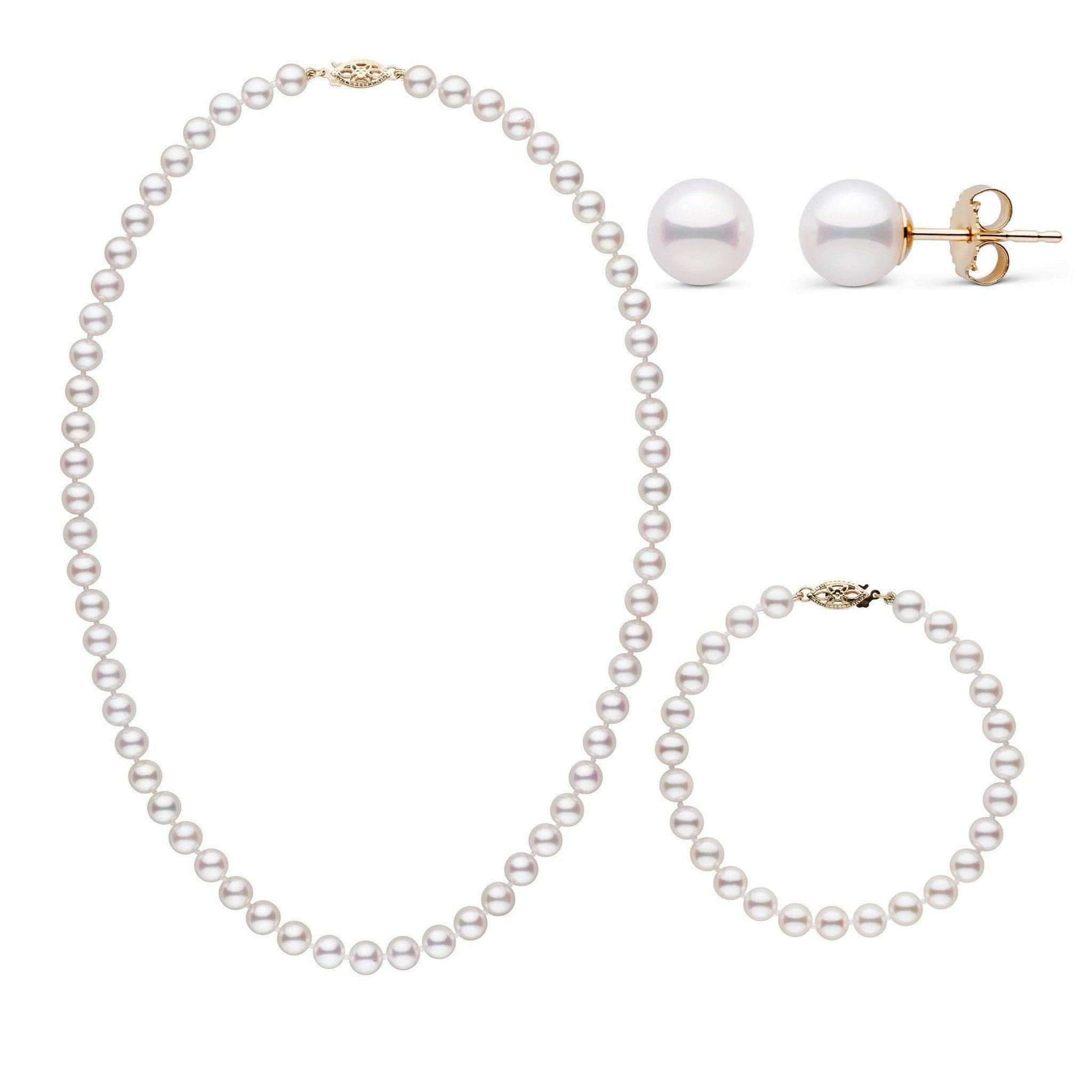 18 Inch 3 Piece Set of 6.0-6.5 mm AAA White Akoya Pearls