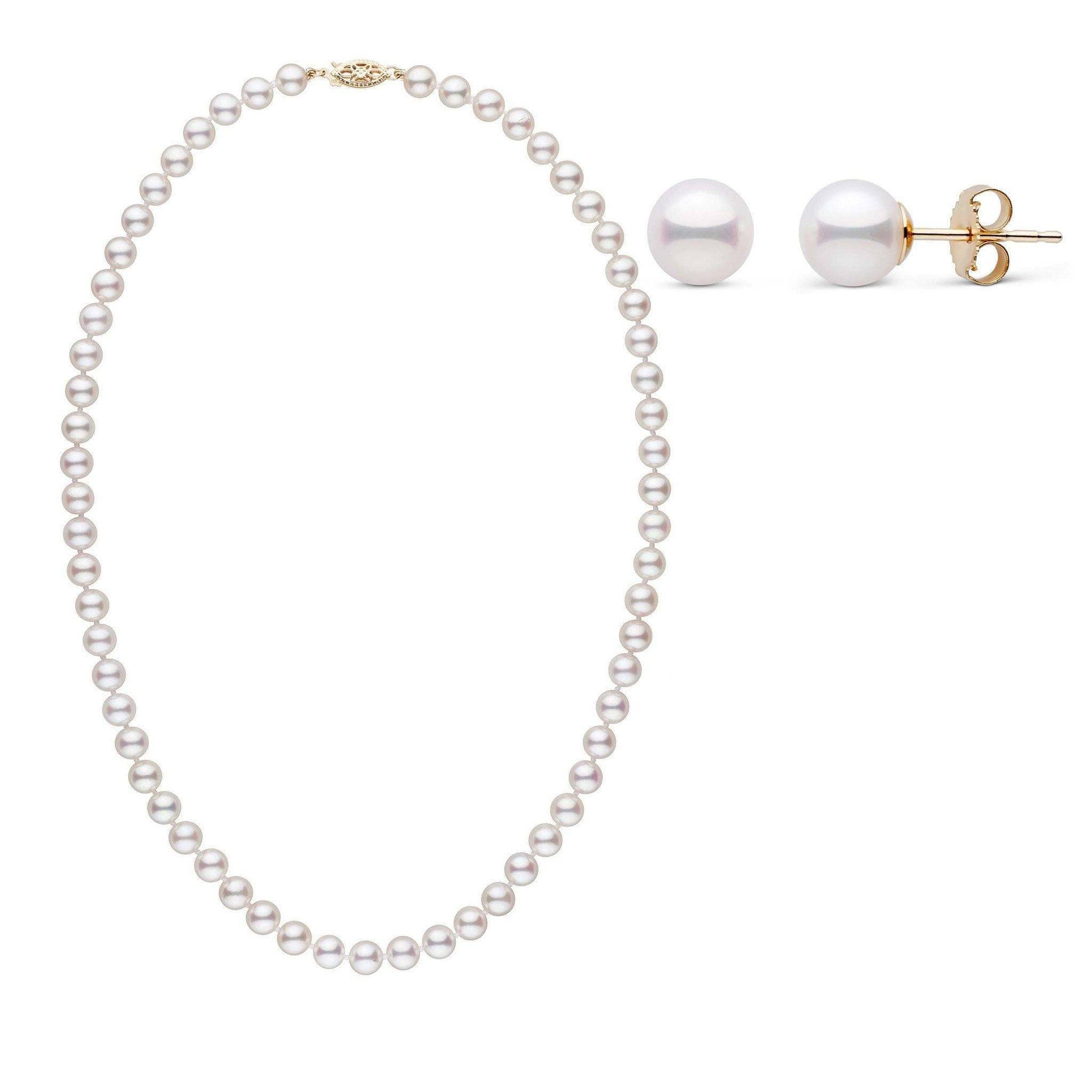 18 Inch 2 Piece Set of 6.0-6.5 mm AAA White Akoya Pearls