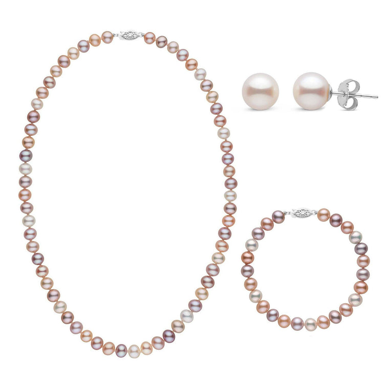 18 Inch 3 Piece Set of 6.5-7.0 mm AA+ Multicolor Freshwater Pearls
