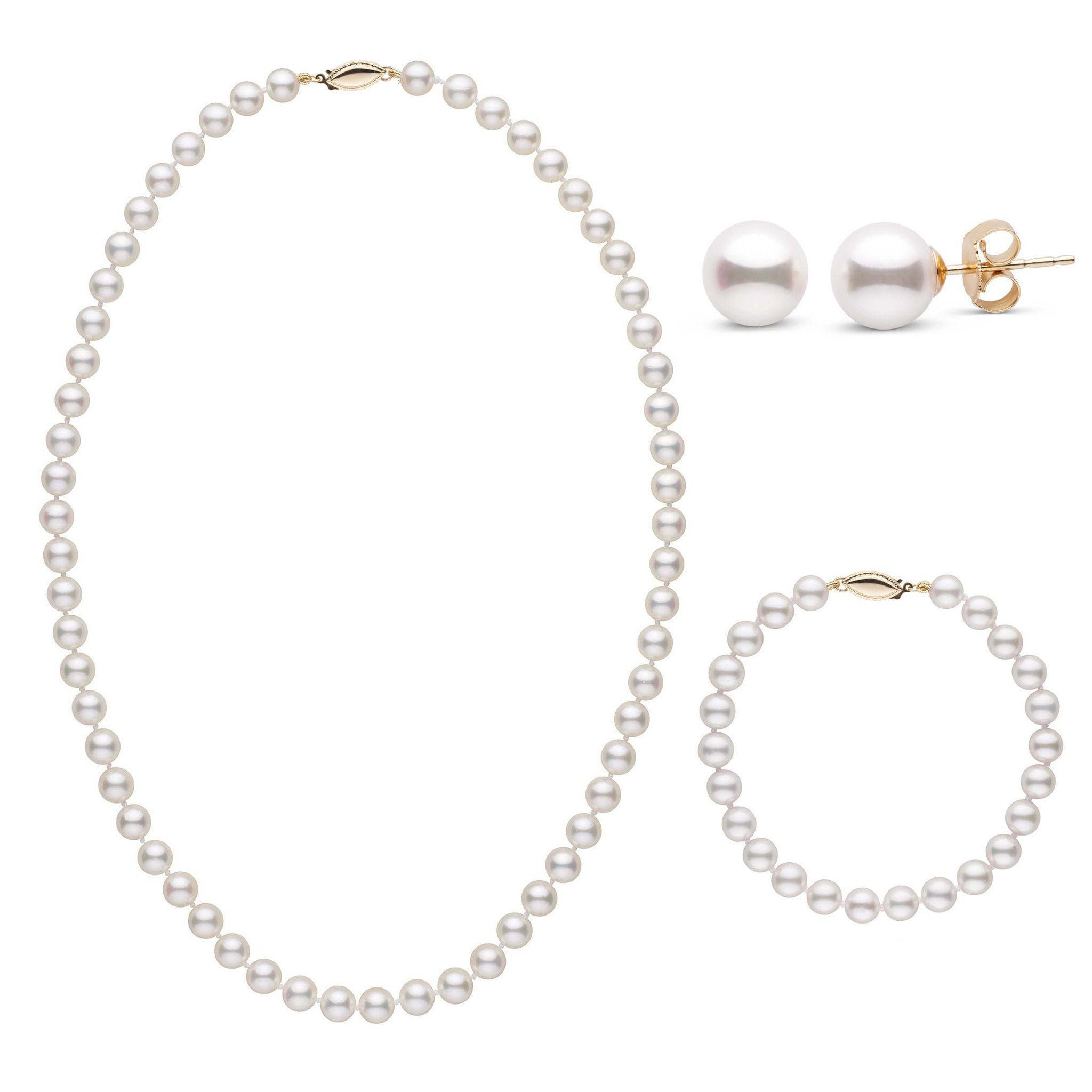 18 Inch 3 Piece Set of 6.5-7.0 mm AA+ White Akoya Pearls