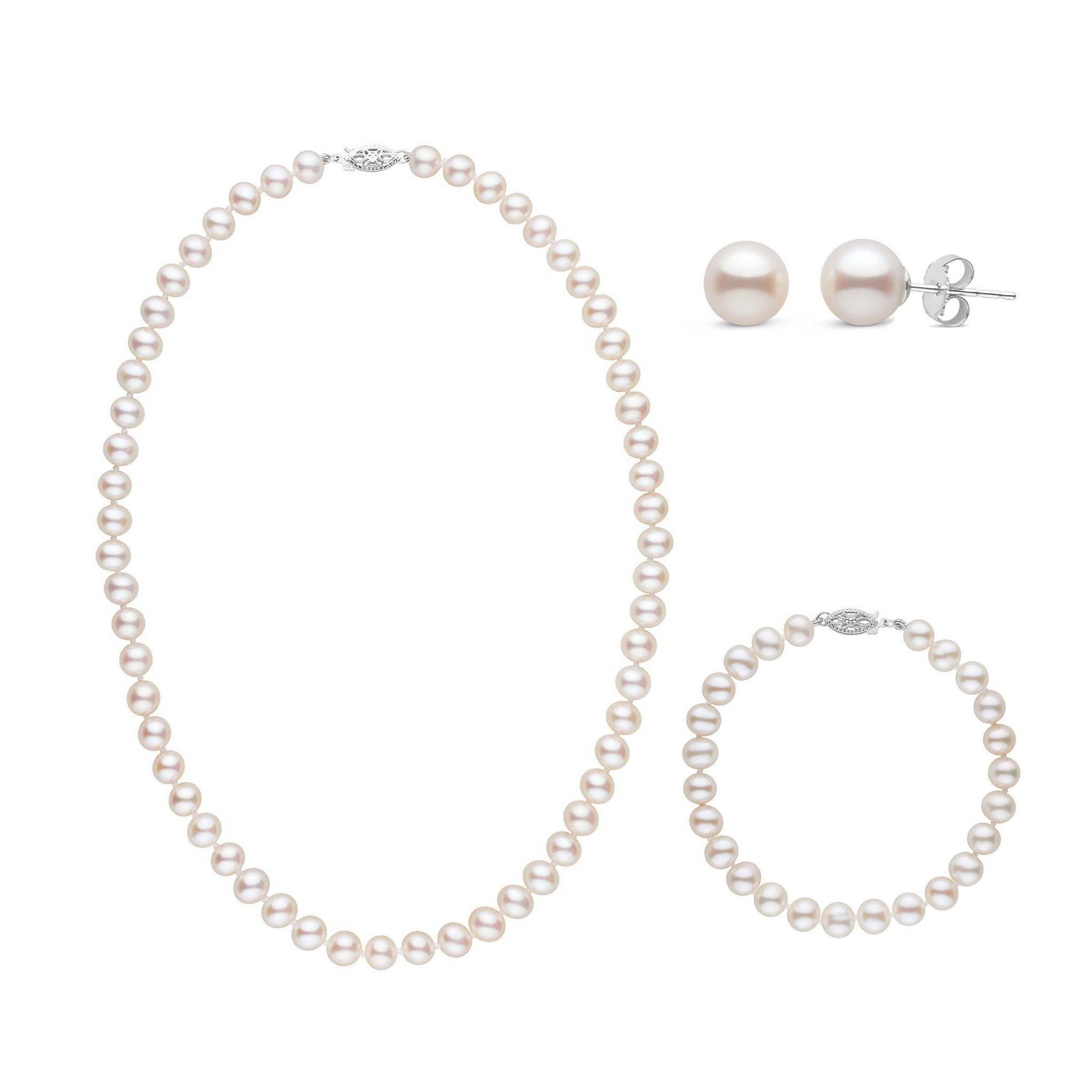 18 Inch 3 Piece Set of 6.5-7.0 mm AA+ White Freshwater Pearls